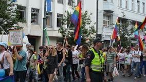 Parata gay della folla stock footage