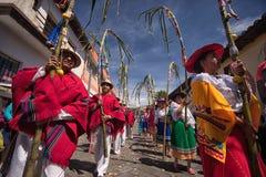 Parata indigena al Corpus Christi nell'Ecuador Fotografia Stock