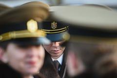 Parata militare che celebra la festa nazionale della Romania immagine stock