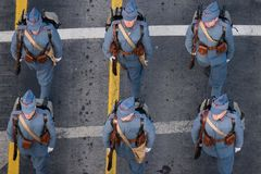Parata militare che celebra la festa nazionale della Romania immagini stock
