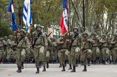 Parata militare dell'esercito dell'Uruguay che commemora l'anniversario 206 del Batalla de Las Piedras, Uruguay, il 18 maggio 201 Fotografie Stock Libere da Diritti