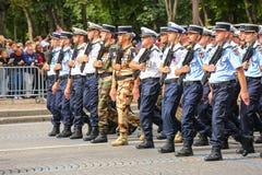 Parata militare della polizia nazionale (sfilata) durante il ceremonial della festa nazionale francese, Cham immagine stock libera da diritti