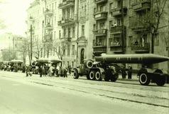 Parata militare di Kiev razzi il 1° maggio 1964 Fotografie Stock Libere da Diritti
