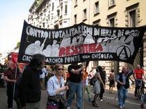 PARATA POLITICA DI GIORNO DI LIBERAZIONE. MILANO, ITALIA Fotografie Stock
