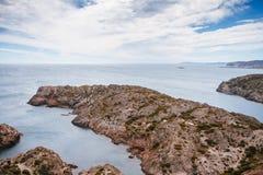 阿雅克修海岸线可西嘉岛法国海岛地中海最近的parata sanguinaire海运塔 库存照片