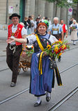 Parata svizzera di festa nazionale a Zurigo Immagine Stock Libera da Diritti