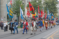 Parata svizzera di festa nazionale a Zurigo Immagini Stock