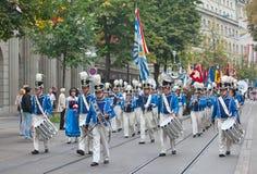 Parata svizzera di festa nazionale a Zurigo Fotografie Stock Libere da Diritti