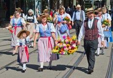 Parata svizzera di festa nazionale a Zurigo Immagine Stock