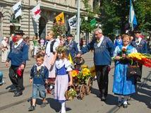 Parata svizzera di giorno nazionale a Zurigo Fotografia Stock Libera da Diritti