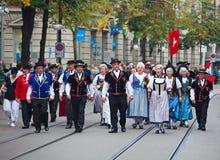 Parata svizzera di giorno nazionale a Zurigo Fotografie Stock Libere da Diritti