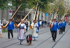 Parata svizzera di giorno nazionale a Zurigo Immagini Stock Libere da Diritti