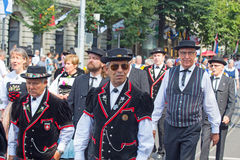 Parata svizzera di giorno nazionale a Zurigo Immagine Stock Libera da Diritti