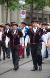 Parata svizzera di giorno nazionale a Zurigo Immagini Stock