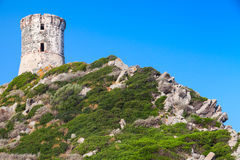 Parata tower. Ancient Genoese tower, Corsica. Parata tower. Ancient Genoese tower on Sanguinaires peninsula near Ajaccio, Corsica, France stock image