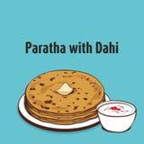 Paratha avec l'illustration de dahi illustration de vecteur