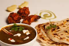 Paratha with paneer masala and chicken kebab Stock Photo