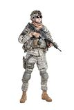 Paratrooper airborne infantry. United States paratrooper airborne infantry studio shot on white background royalty free stock photo