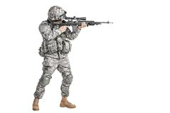Paratrooper airborne infantry. United States paratrooper airborne infantry studio shot on white background royalty free stock photos
