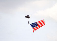 A paratrooper with the american flag Stock Image