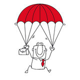 Paratrooper businessman Royalty Free Stock Photography