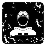 Paratrooper icon, grunge style Stock Images