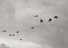 Paratroopers air drop Stock Images