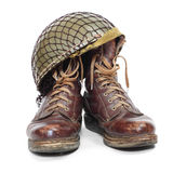Paratroopers boots and helmet. Royalty Free Stock Photography