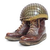 Paratroopers boots and helmet. Stock Images