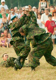 Paratroopers demonstrate martial arts Royalty Free Stock Images