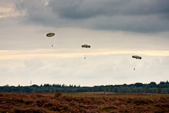 Paratroopers drop during the 72th commemoration of operation Market Garden Royalty Free Stock Image