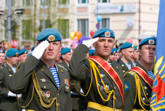 Paratroopers at parade Royalty Free Stock Photos