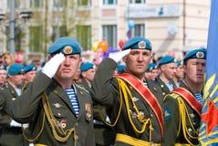 Paratroopers at parade royalty free stock photos