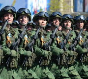 Paratroopers of the 331st guards airborne regiment in Kostroma at the dress rehearsal of parade on red square in honor of Victory Royalty Free Stock Photography
