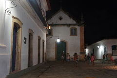 Paraty,巴西,夜间 库存照片
