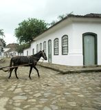 Paraty. Horse and cart in hitorical town of Paraty, Brazil stock photos
