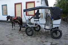 Paraty, Brasilien, häst och vagn Royaltyfri Bild