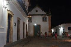 Paraty Brasilien, nattetid Arkivfoton