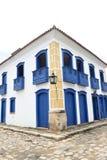 Paraty Brasilien på kusten av Brasilien, har mycket färgrik kolonial arkitektur Royaltyfri Foto
