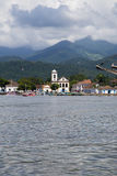 Paraty coastiline view from water. Vertical image Royalty Free Stock Photos