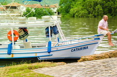 PARATY, RIO DE JANEIRO, BRAZIL - DEC 12, 2015: Boat at port of P Stock Images
