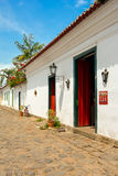 Paraty street. Old and preserved houses in Paraty streets Stock Photography