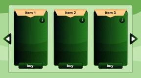 Parawanowy interfejs dla online i opierający się zastosowania w zielonym kolorze Obraz Royalty Free