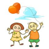 Parbarn som rymmer ballongen isolerad på vit Arkivfoto