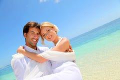 parbröllopsresa Fotografering för Bildbyråer