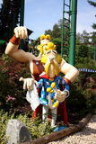 Parc Asterix, France. Statues from the comic book about Asterix and Obelix shown at the French entertainment park Parc Asterix next to Paris, France Stock Photography