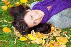 Parc Autumn Woman Stock Images