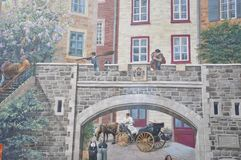 Parc Cetiere从云香老魁北克市Notre Dame的壁画细节在加拿大 免版税库存图片