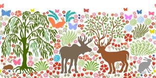 Parc d'été avec les animaux sauvages Modèle sans couture avec des élans, des cerfs communs, des lièvres, l'écureuil, le hérisson  Photographie stock