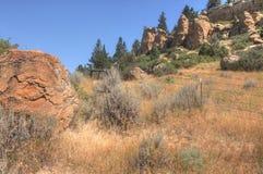 Parc d'état de pictographe en dehors de des facturations, Montana en été photographie stock